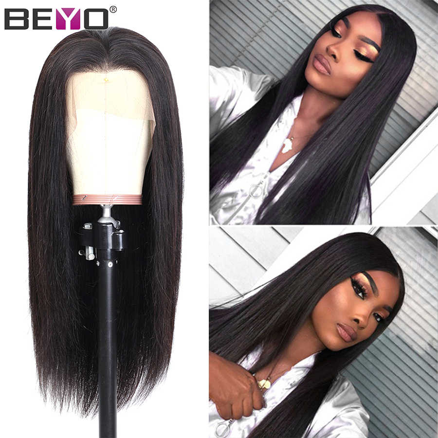13x4 Malaysian Lace Wig Pre Plucked Lace Front Human Hair Wigs For Black Women Straight Lace Front Wig 150%/180% Remy Hair Beyo