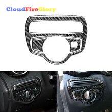 CloudFireGlory для Mercedes Benz C-Class W205 C180 C200 C300 GLC260 углеродное волокно внутренняя крышка рамы переключателя фары