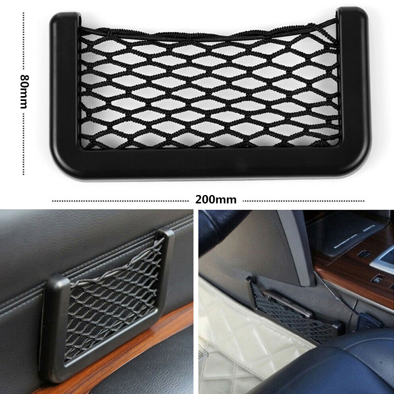 Universal 1x Car Net Bag Elastic Side Door Storage Pocket Phone Holder Organiser