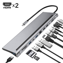 Docking-Station Laptop-Support Usb-Type-C Dual-Hdmi Usb-3.0 12-In-1 Hub Rj45 Multi