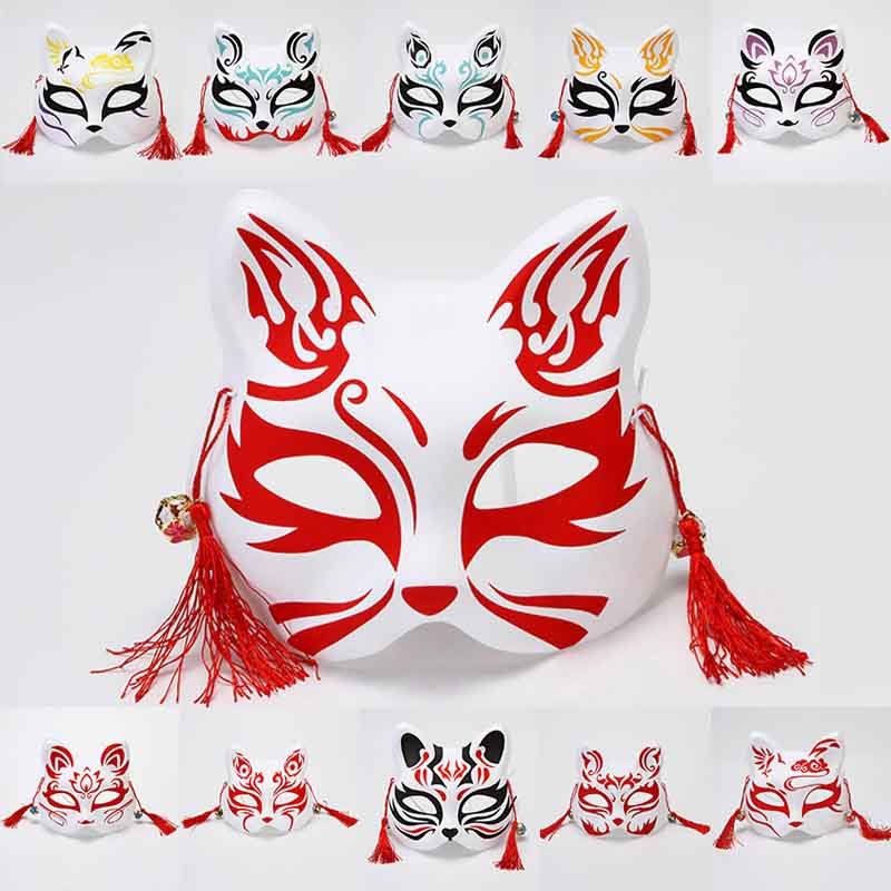 Pennywise Mask Halloween Half Face Cat Anime Fox Dark Mask Cosplay Ball Costume Props Masquerade Dress Up Dance Party Mask
