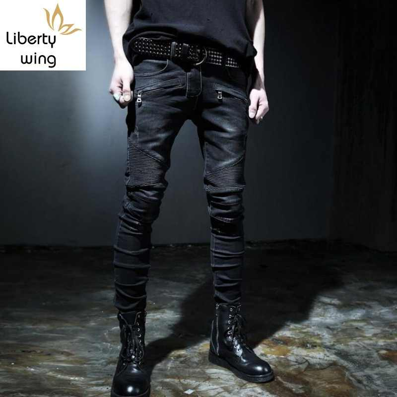 Top marka moda męska Fit Denim chłopcy Slim spodnie motocyklowe Skinny prosto Runway elastyczne dżinsy spodnie niebieski rozmiar 28 -- 42