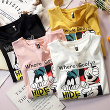 Mikey Minnie Mouse Summer Couple T-shirt Women Black White C