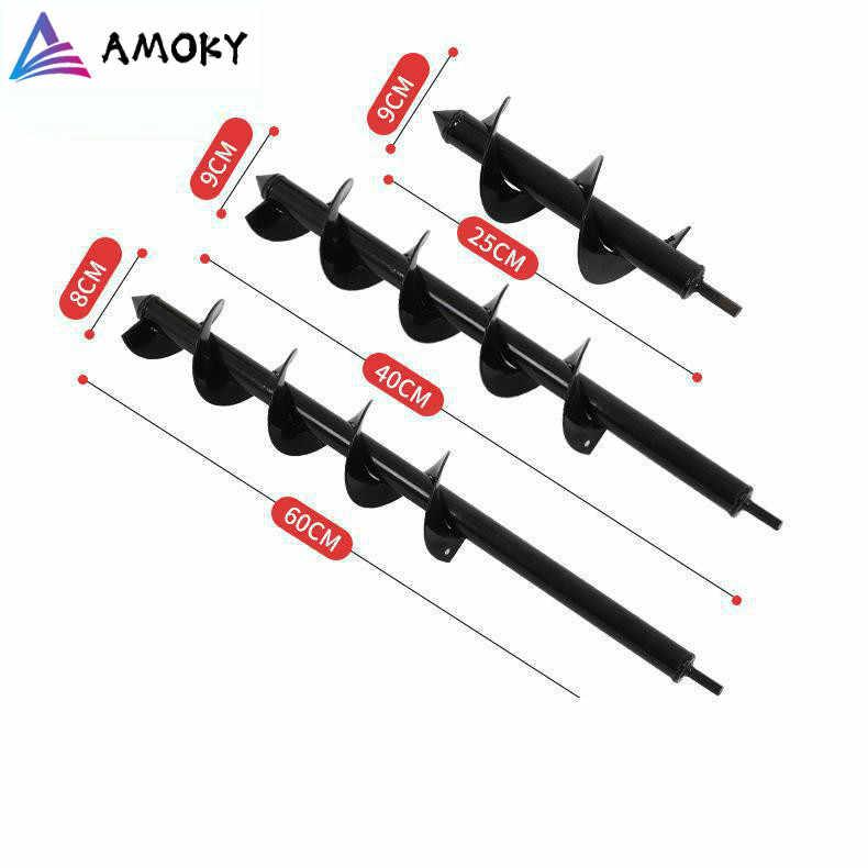 AMKOY เหล็กคาร์บอน 9X30 ซม Auger เจาะเกลียวบิตดอกไม้ขุดใช้สำหรับเจาะไฟฟ้าดัดแปลง GROUND เจาะ