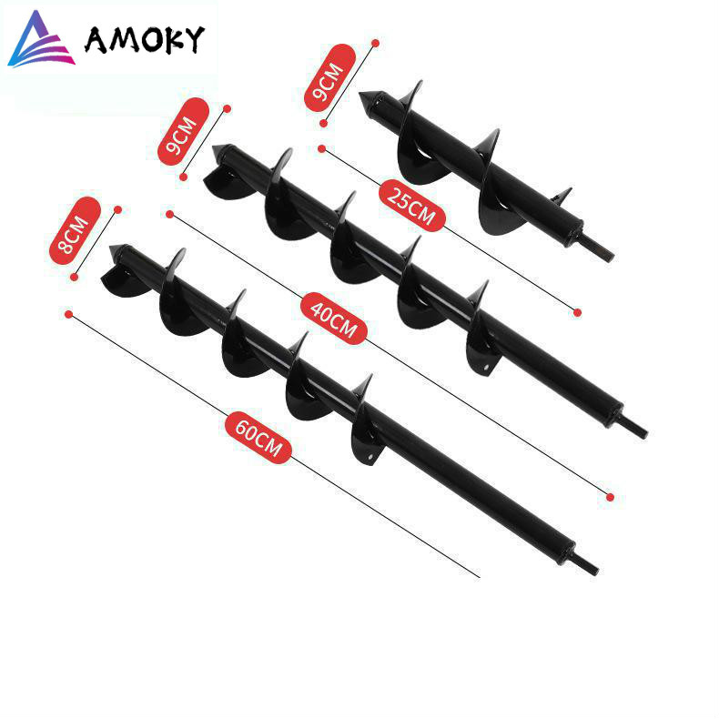 AMKOY Carbon Steel 9X30cm Garden Auger Spiral Drill Bit Flower Planter Digging Used For Electric Drill Modified Ground Drill
