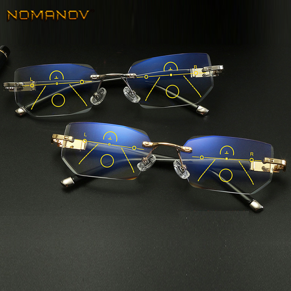 NOMANOV Rimless Diamond Trimming Luxury Progressive Multifocal Reading Glasses See Near And Far ADD +75 100 150 175 200 To 350
