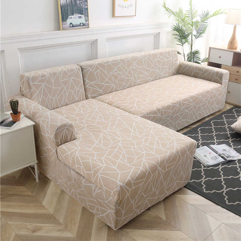2 Pieces Geometric Couch Cover Stretch