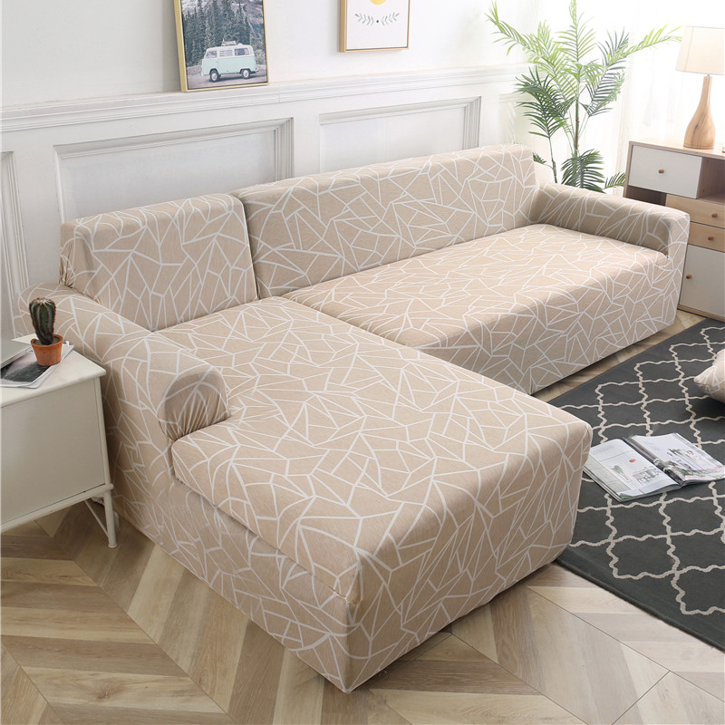 Image 1 - 1/2 pieces Geometric Couch Cover Stretch Slipcovers Set Elastic Sofa Cover for L Shaped Sectional Corner Chaise Longue SofaSofa Cover   -