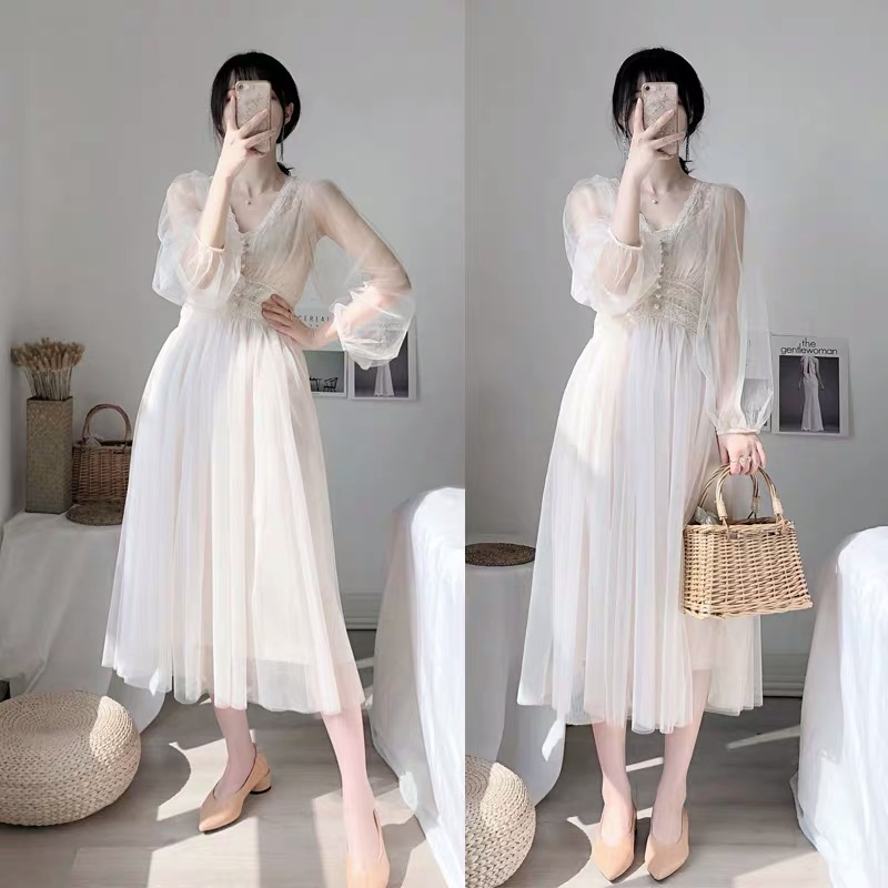Fall 2019 Brand New Women Dress V-neck Puff Sleeve Mesh Midi Dress Plus Size Fairy Tulle Lace Dress Elegant Long Dress Vestidos