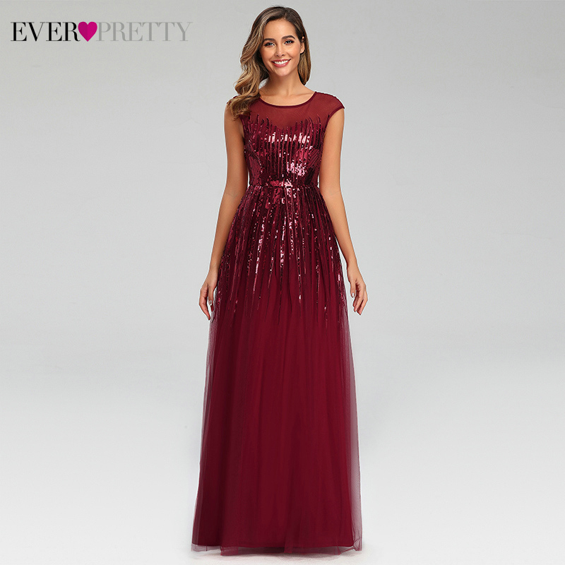 Sequined Burgundy Evening Dresses Ever Pretty A-Line O-Neck Sleeveless Tulle Sparkle Evening Party Gowns Abiye Gece Elbisesi
