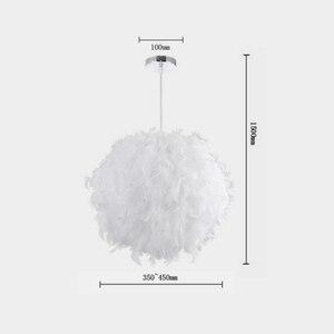 Image 5 - Lámpara de techo de plumas, creativa, moderna, Blanca, para dormitorio, estudio, colgante, dormitorio, sala de estar