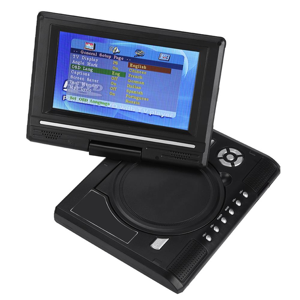 Portable HD TV Home <font><b>Car</b></font> DVD <font><b>Player</b></font> VCD <font><b>CD</b></font> <font><b>MP3</b></font> DVD Game <font><b>Player</b></font> <font><b>USB</b></font> SD Cards RCA TV Portatil 7 Inch 16:9 Rotate LCD Screen image