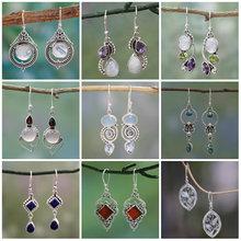 2020 Silver Color Geometric Semi-precious Stone Drop Earrings Women Popular Round Purple Blue Red Rotating Water Drop Earrings cheap ZXSTYLE Zinc Alloy TRENDY As picture Metal