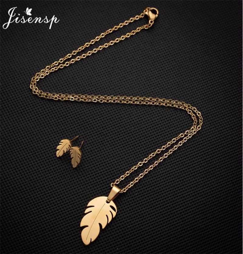Jisensp prosty klasyczny liść wisiorek naszyjnik zestaw długi łańcuch z piór naszyjniki oświadczenie biżuteria naszyjnik kolczyki roślin kołnierz