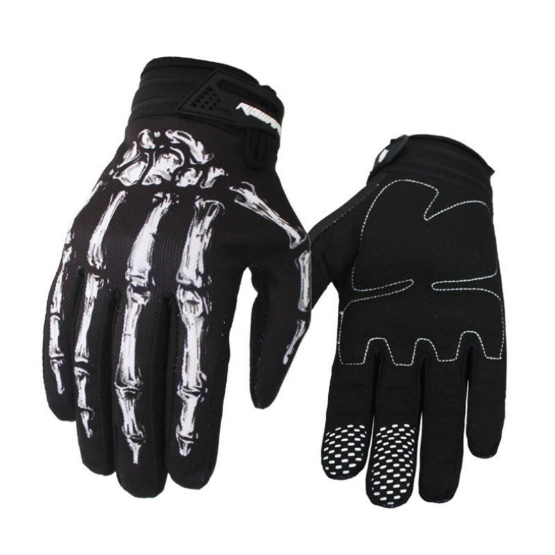 Unisex Women Men Motorcycle Bike <font><b>Cycling</b></font> <font><b>Gloves</b></font> <font><b>Skull</b></font> Skeleton Goth Racing Full Finger <font><b>Gloves</b></font> image