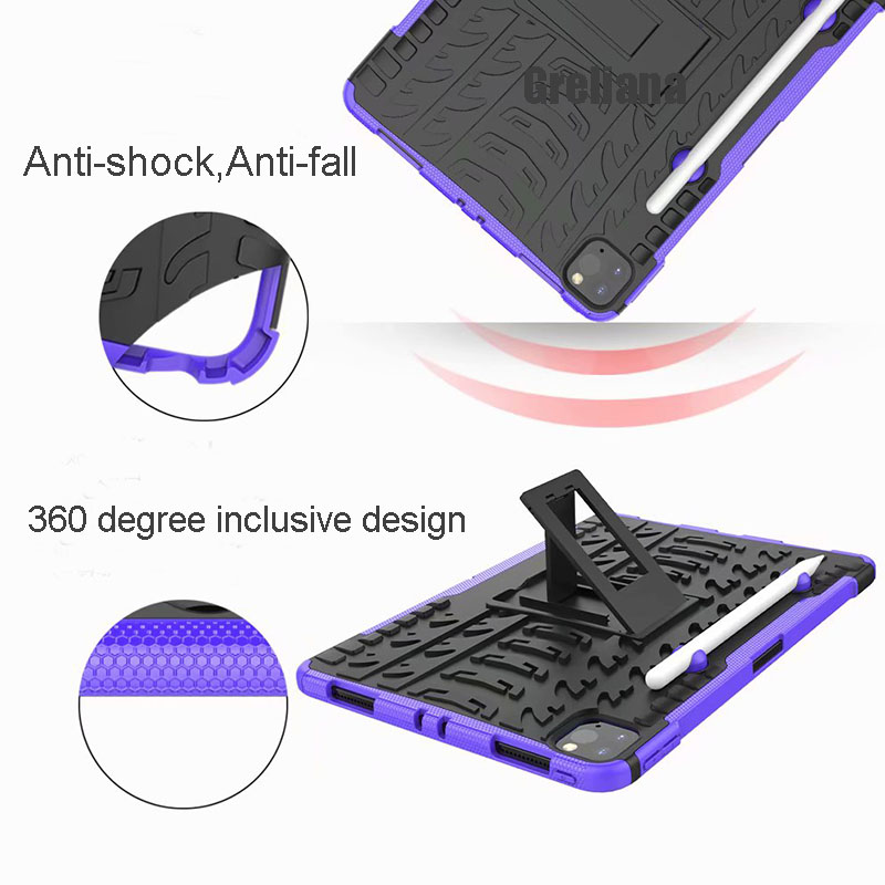 Shockproof Armor Case For New iPad Pro 11 2020 Case With Pencil Holder Flip Stand Cover