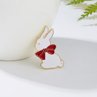 Women Kids Cute White Rabbits Enamel Metal Painting Oil Badge Small Brooch Pins Coat Lapel Badge Pins Brooch Jewelry Gifts