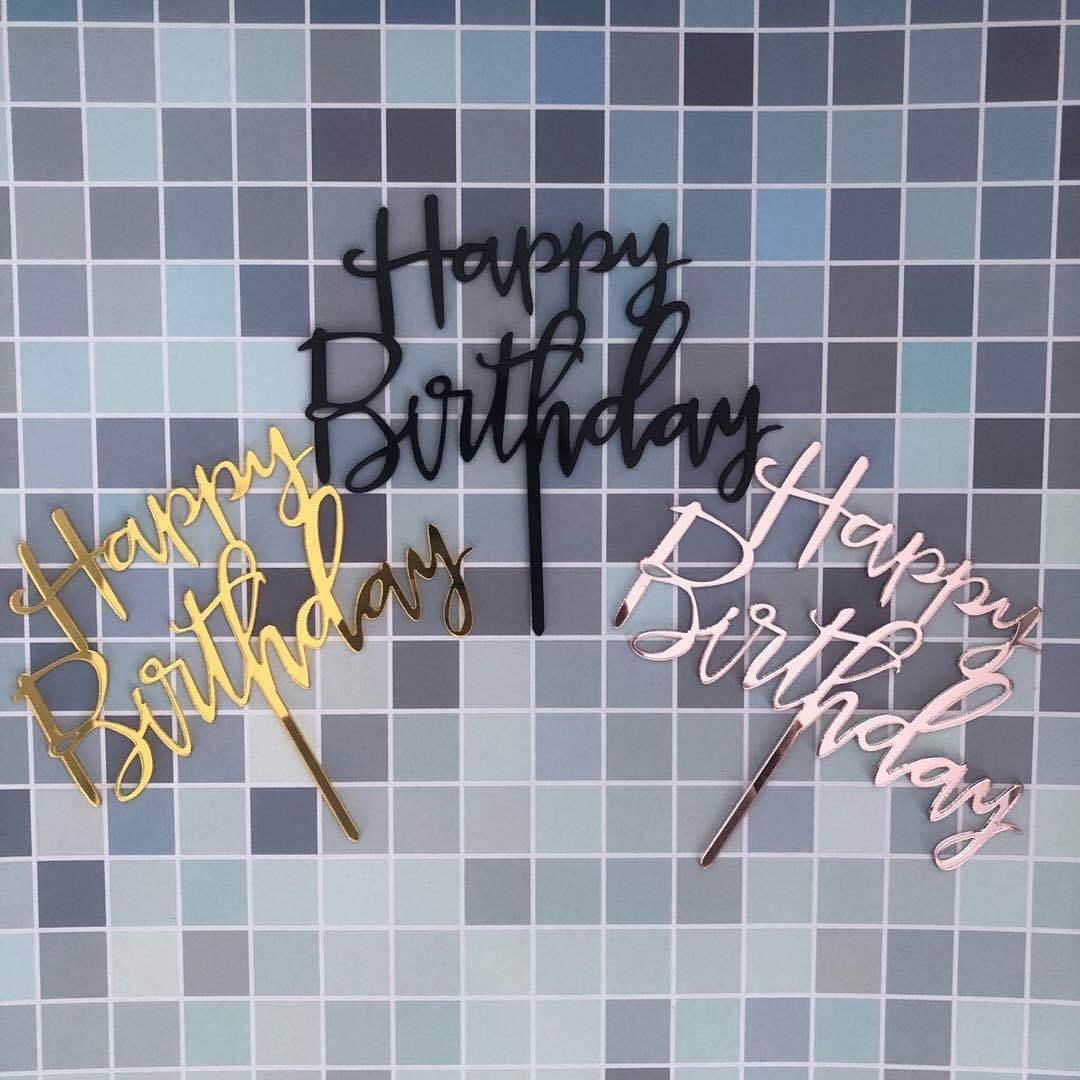 Розовый Золотой Топпер для торта «С Днем Рождения», акриловый Топпер для кексов с буквами для мальчиков, праздничная чашка для торта, декора...