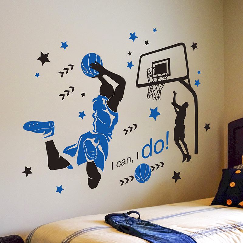 [SHIJUEHEZI] Basketball Player Sport Wall Stickers DIY Cartoon Mural Decals For Kids Rooms Boy's Bedroom Gymnasium Decoration