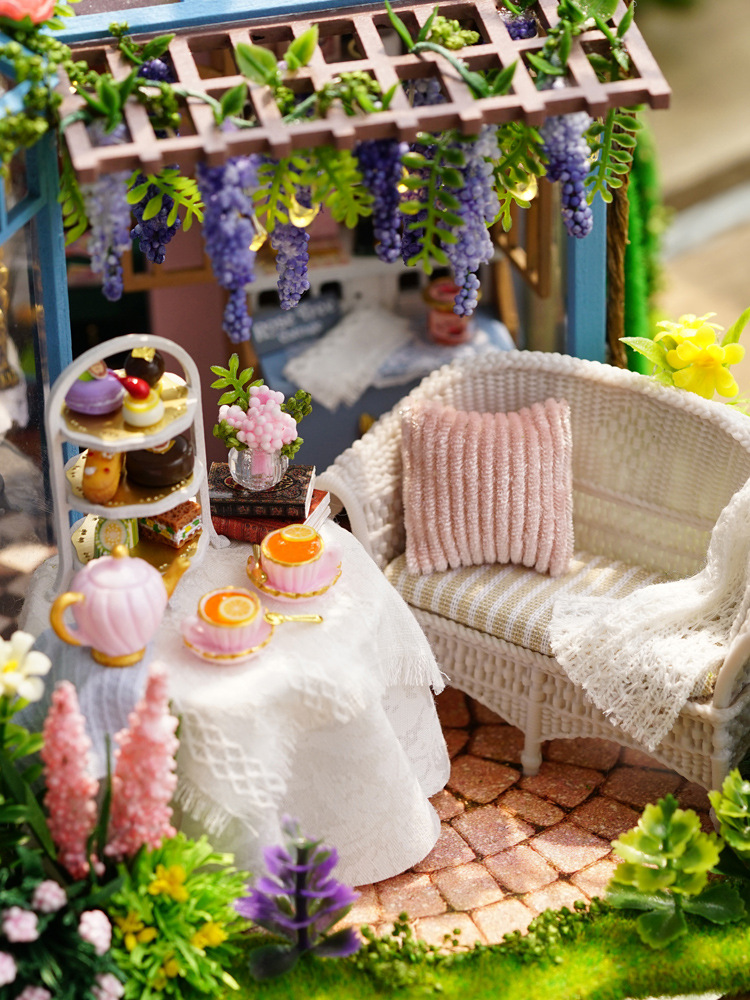 Nouveaux produits bricolage cabane pour faire jardin thé maison modèle Rose petite maison à la main assemblé bois cadeau