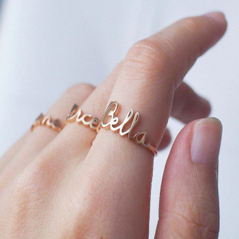 Custom Name Ring Band Letters Initials Gold Stainless Steel Bijoux Femme Wedding for Women Personalized