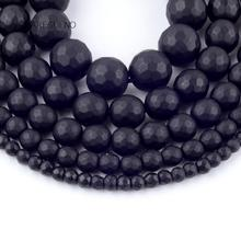 Natural Faceted Matte Black Agates Stone Round Loose Beads For Jewelry Making 4-12mm Spacer Fit Diy Bracelet Necklace 15