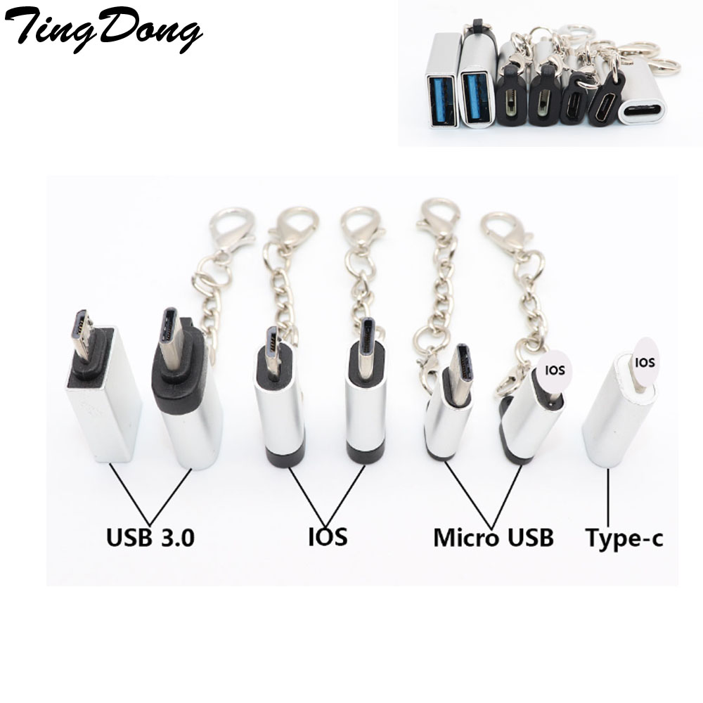 TingDong For Type-c Micro Usb Adapter To IOS /USB3.0  For IPhone & Android Charger Type-C /Micro Usb Converter