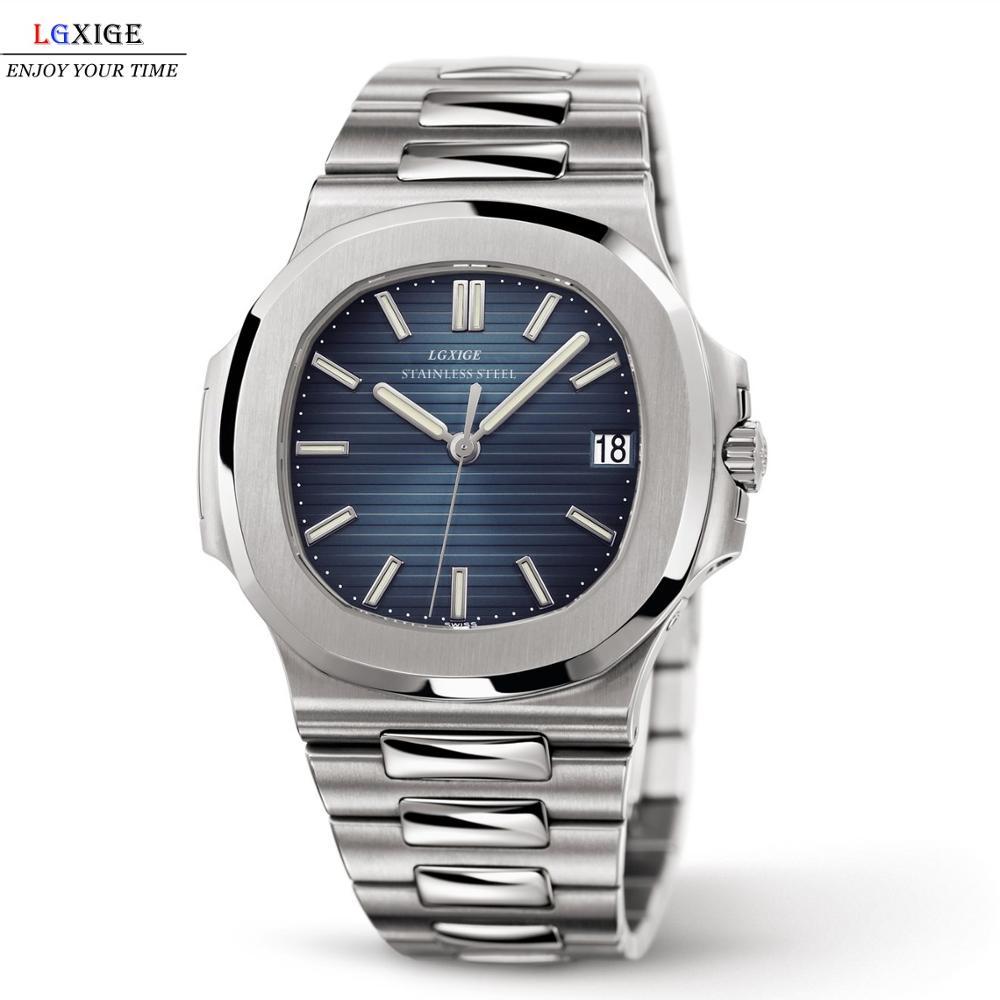 LGXIGE montre hommes haut marque de luxe en acier plein militaire montre-bracelet hommes 30m étanche affaires lumineux Quartz horloge 2019
