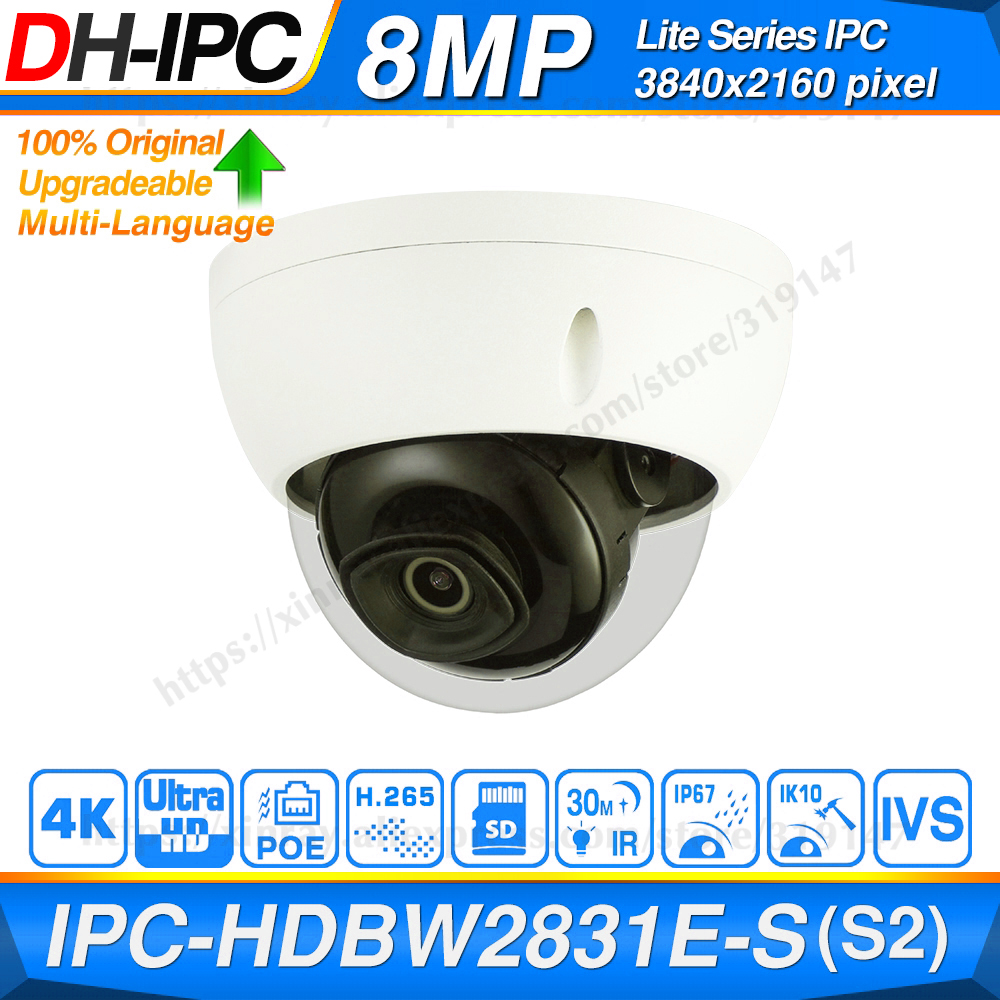 Dahua Original IPC-HDBW2831E-S-S2 8MP 4K POE SD Card Slot H.265+ 30M IR IVS Onvif IP67 Starlight Mini Dome Network IP Camera