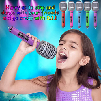 1 pcs Funny Inflatable Microphone Toy Blow Up Singing Birthday Party Balloon Toys Kids Gift Party Supplies Random Color TSLM1 image