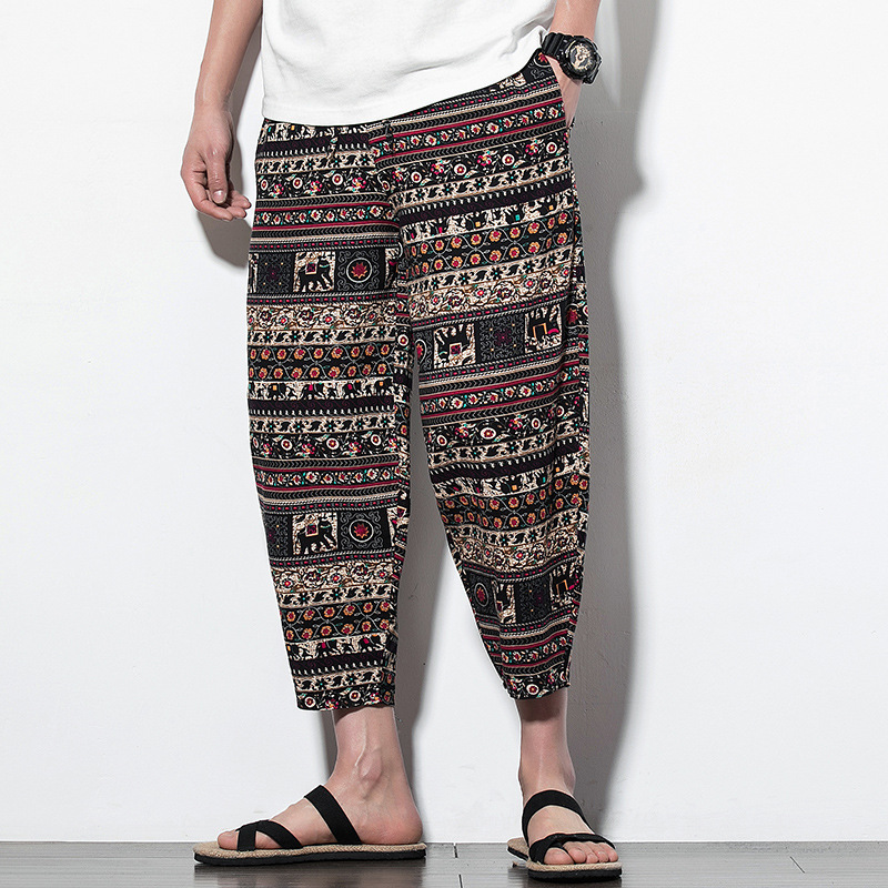 2019 Chinese-style Summer New Style Youth Men Loose Cotton Linen Skinny Capri Radish Harem Lantern Casual Pants