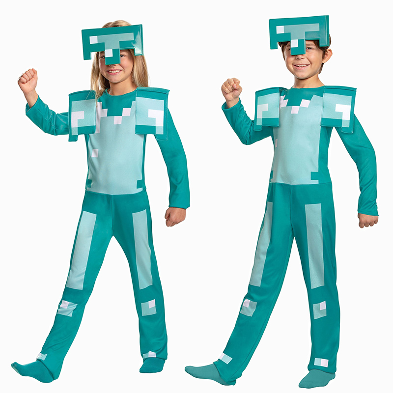Children Minecrafted Diamond Armor Costume Cosplay Halloween Costume For Kids Carnival Party Suit Game Character Dress Up