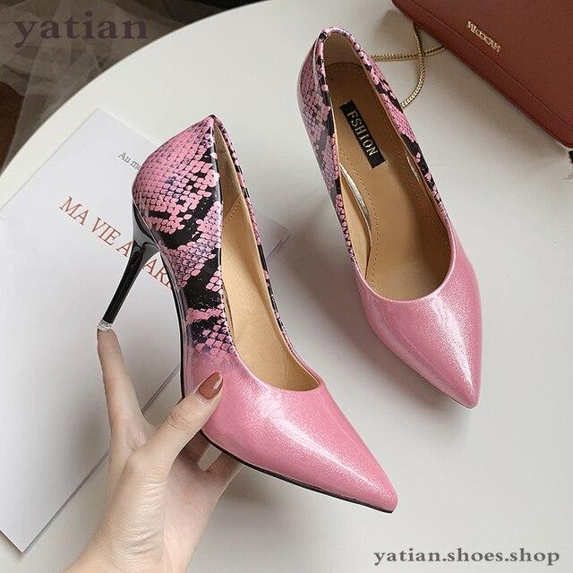 9 سنتيمتر عالية الكعب النساء مضخات البيج كعب رقيقة ثعبان طباعة مثير حفلة موسيقية أحذية امرأة 2020 موضة الشظية الوردي الخناجر A0 172