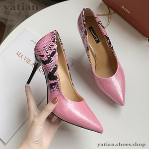 Image 1 - 9cm high heels women beige pumps thin heel snake print sexy party prom shoes woman 2020 fashion sliver pink stilettos A0 172