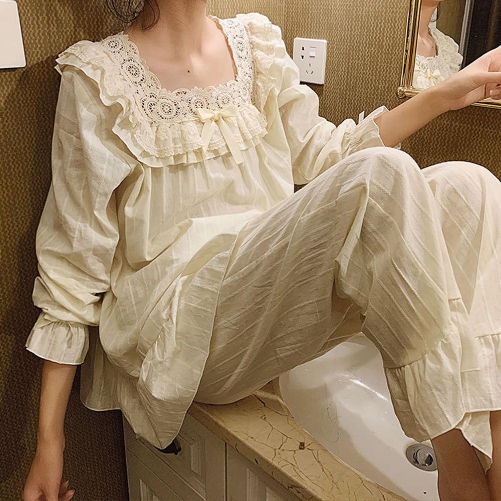 Women's Vintage Pajamas Set Princess Cute Sweet Loose Fit Cotton Woven Square Collar Retro Palace Pajamas 2 Pieces Suit Big Size
