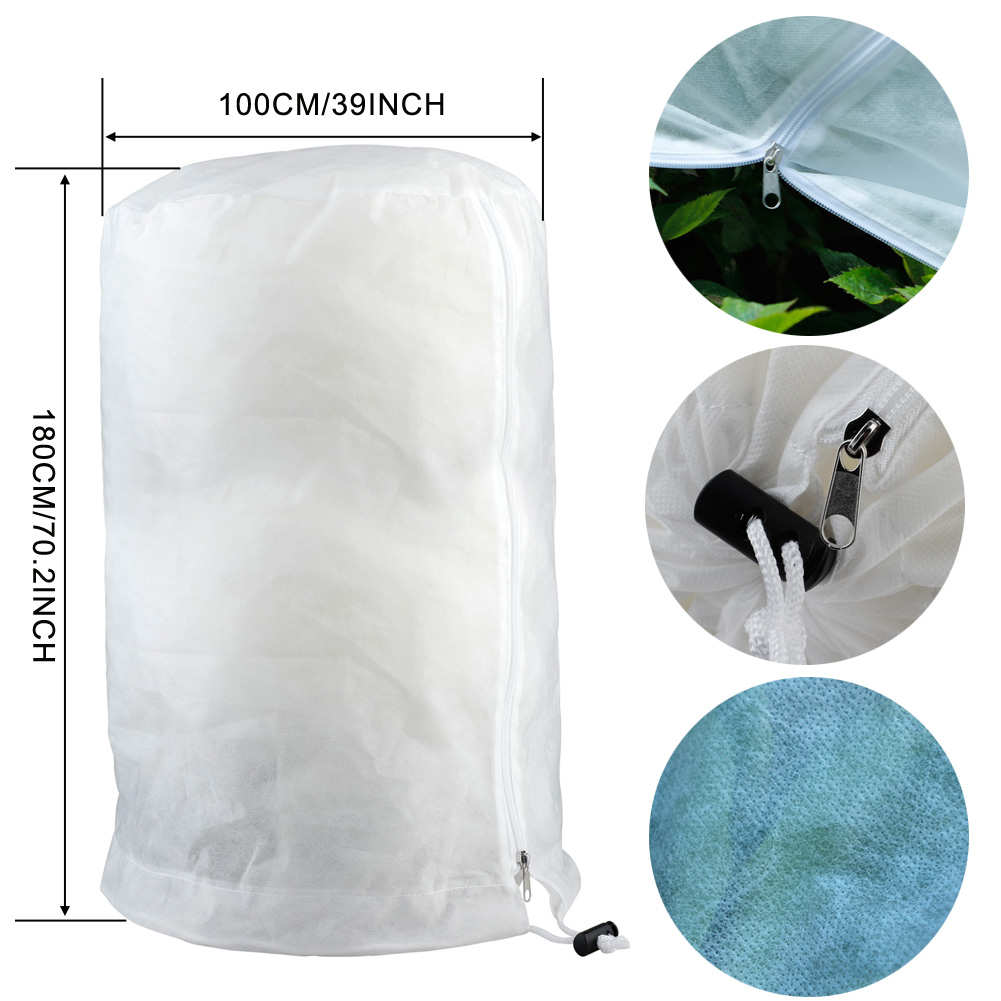 Plant Freeze Protection Covers Plant Frost Blanket Reusable Shrub Jacket Covers With Zipper For Plant Protection 100*100*180cm