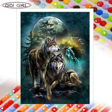 QIQI GIRL new square round diamond painting kit animal forest moonlight gray wolf couple embroidery mosaic handmade home decorat