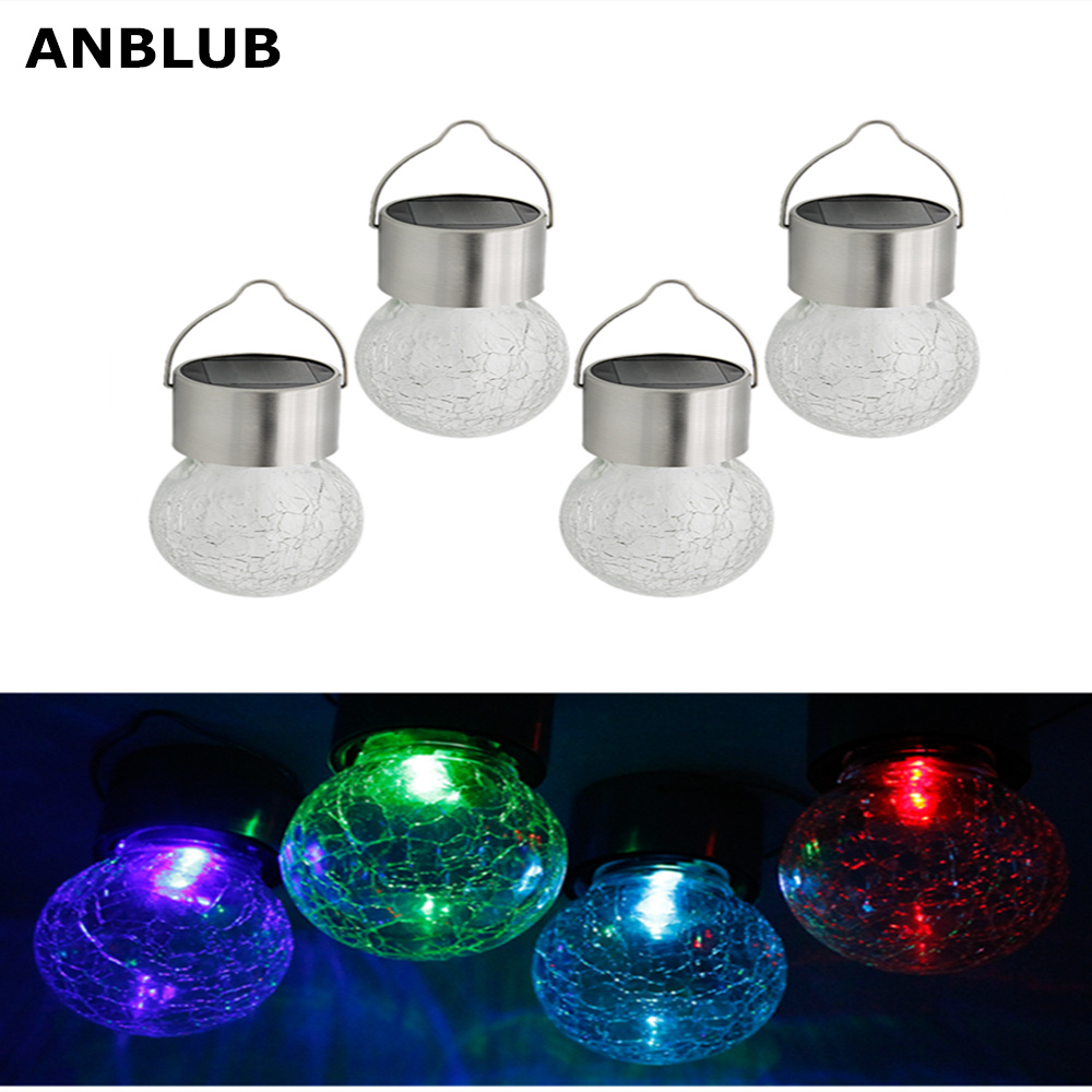 ANBLUB 4pcs Hanging LED Solar Powered Lamp 7 Colors Changeable Waterproof Outdoor Cracked Glass Lights For Garden Decoration