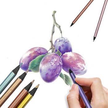 DEDEDEPRAISE metalowe kolorowe ołówki zestaw nietoksyczne kolorowe kredki 12 18 kolorów metaliczny kolor ołówek szkic dostaw tanie i dobre opinie kolorowa DEDEDEPRAISE-Metallic-Colored-Pencil