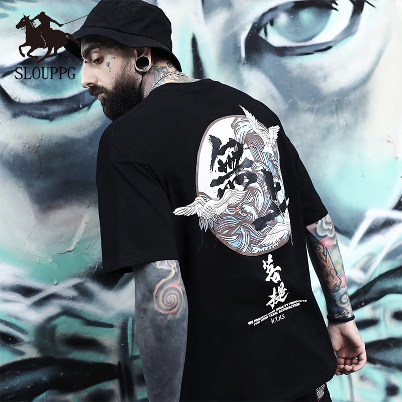 SLOUPPG 2019 Mens T-shirt Fashion Loose Five-point Sleeve Men BF Student Print Chinese Style Short-sleeved Tees Cool Men's Wear