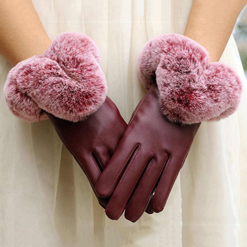 Musim Gugur dan Musim Dingin Baru Wanita Pu Kulit Layar Sentuh Sarung Tangan Plus Beludru Hangat Bernapas Kelinci Bulu Sarung Tangan