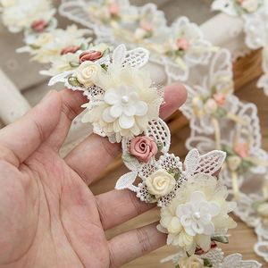 1 yard Rose Flower Lace Ribbon Trim Beading Wedding Dress Decoration Embroidery Lace Fabric Sewing Crafts Garment Accessories