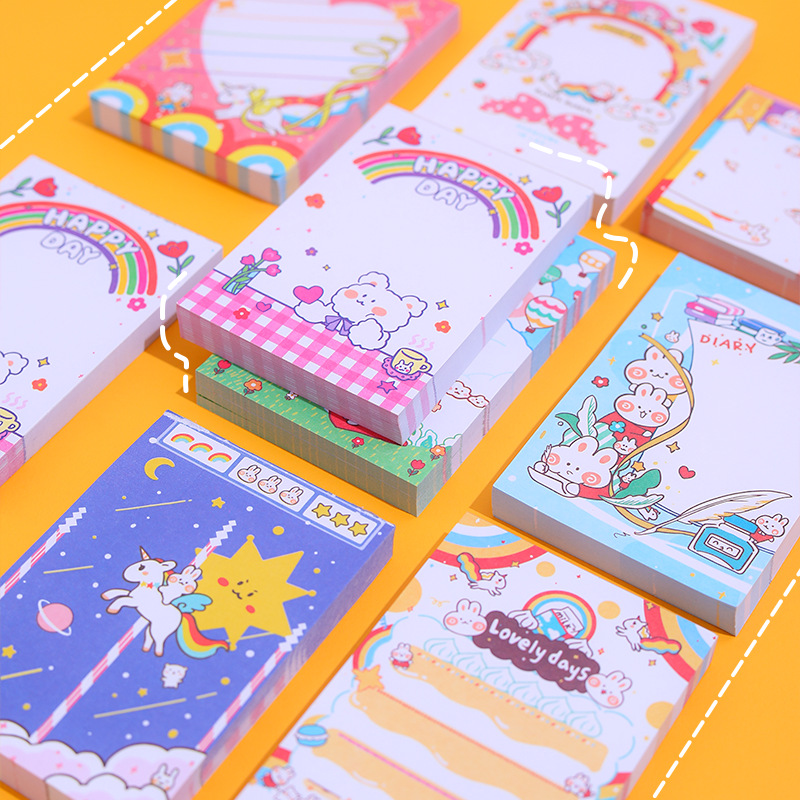 Yisuremia 100 Sheets Kawaii Animals Memo Pads Note Paper Cartoon Decorative Message Notepad School Office Stationery Supplies