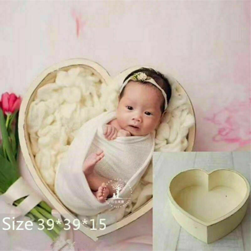 Love Heart Wood Posing Baskets For Newborn Photography Props Baby Photo Shoot Accessories Photoshoot Filler Basket Fotografia