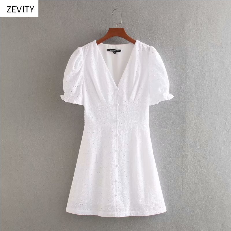 Zevity New women fashion v neck hollow out embroidery casual slim white dress female puff sleeve vestido chic mini dresses D3971