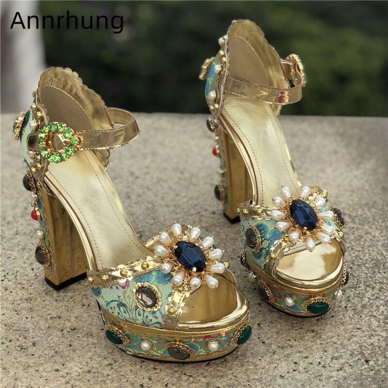 Luxury Crystal Jeweled Chunky Heel Sandals Women Embroidery Platform Heels Rhinestone Pearl Decor Wedding Shoes Stage Sandals