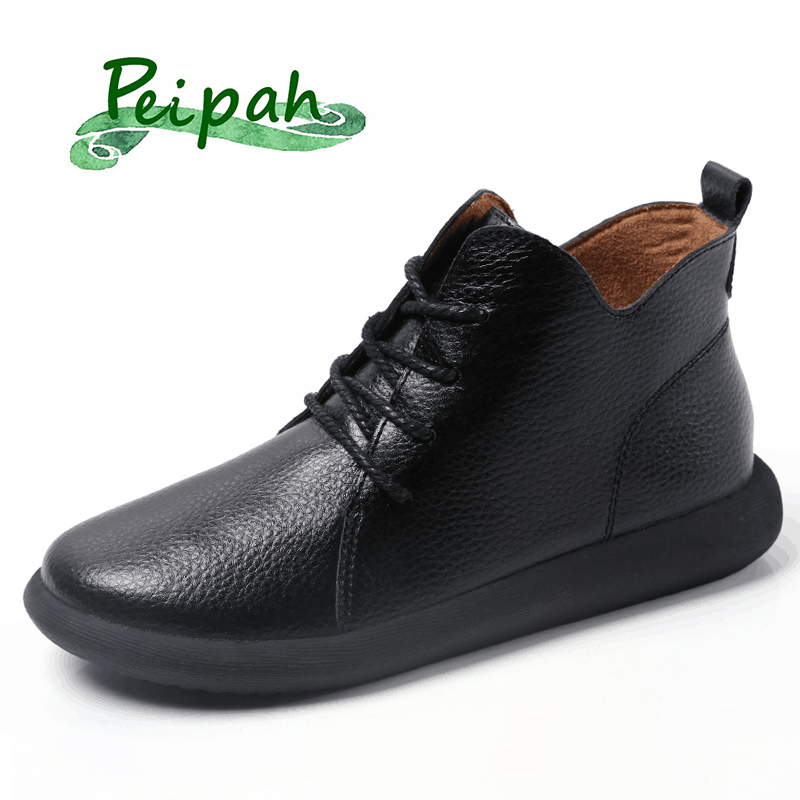 PEIPAH Spring/Autumn Women's Shoes Genuine Leather Woman Ankle Boots Female Lace-Up Shoes Flat With Fur Boots Ladies Botas Mujer