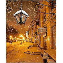 WEEN Street Snow Light-DIY Painting By Numbers kit, Acrylic Paint,Hand Painted Oil On Canvas,Paint 40x50cm