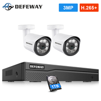 DEFEWAY H.265+ 4CH 3.0MP Video Surveillance Kit NVR POE CCTV System IP Camera Outdoor Weatherproof 2PCS Camera with 1TB HDD