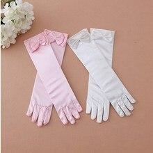 Детские Цветочные перчатки для девочек, детские официальные однотонные белые кружевные перчатки для стрельбы из лука, розовая одежда принцессы, костюмы, аксессуары